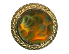 """Button--Large 19th C. Art Glass with Silk """"Oil-spots"""" in Brass with Fancy Rim ~ R C Larner Buttons at eBay  Etsy        http://stores.ebay.com/RC-LARNER-BUTTONS"""
