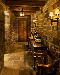 Hallway leading to the wine room....we totally have a hallway we could do this to.  Nice!
