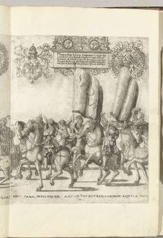 Nicolaas Hogenberg   Vaandeldragers SPQR, plaat H, Nicolaas Hogenberg, 1530 - 1536   Vaandeldragers SPQR, plaat H. Optocht van Karel V met de paus Clemens VII te Bologna na zijn kroning to keizer, 24 februari 1530.