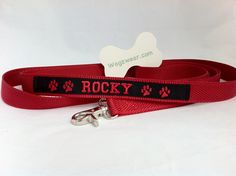 """Double Grip Leash for Rocky. Second """"control"""" grip allows the walker the ability to pull the dog in close to heel when necessary. Great for training. Dog Id, Lost & Found, Bandana, Collars, Your Style, Training, Personalized Items, Heels, How To Wear"""
