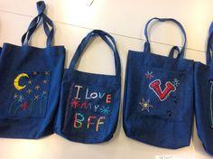 4.lk käsinkirjonta ja koneompelu Grade 3, Bff, Reusable Tote Bags, Textiles, My Love, School, Ideas, Fabrics, Thoughts