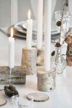 Simple table setting with DIY candlesticks - Deko - Wedding Wedding Decorations, Christmas Decorations, Table Decorations, Wedding Table, Diy Wedding, Birch Wedding, Rustic Wedding, Deco Nouvel An, Beautiful Candles