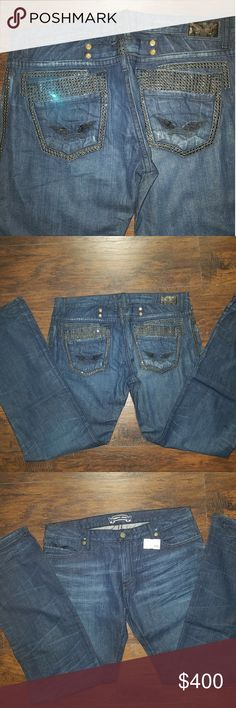 NWT - Robin's Jean Double Back Pocket w/ Crystals Brand new with tags, Robin's Jean Men's size 40 blue jeans with double back pockets studded with swarvoski crystals and signature wings. Never worn and amazing pair of jeans. Make a statement in these. Retail  $679 Robin's Jean Jeans Relaxed