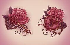 Lock and key tattoo design by XxMortanixX.deviantart.com on @deviantART. Also has stencil drawing. Left thigh tattoo ?