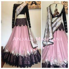 Noir Waves #anarkali #lehenga #wedding #anjali Mahatani Bollywood Outfits, Pakistani Outfits, Indian Outfits, Lehenga Gown, Lehenga Choli Online, Lehanga Saree, Silk Saree Blouse Designs, Lehenga Designs, Indian Designer Outfits