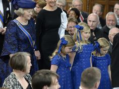 Princess Beatrix of the Netherland with her granddaughters on the enthronement of her son as King. 4/30/13