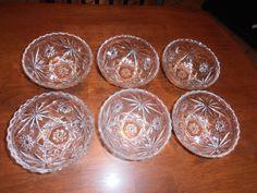 VTG Anchor Hocking American Clear Pressed CuT Glass 6 Scalloped Edge Bowls #AnchorHocking nannysattic15 Ebay