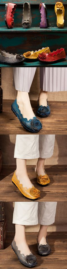 US$34.46 SOCOFY Handmade Rose Pattern Stitching Soft Casual Flat Loafers