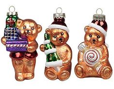 Spruce up Christmas 2017 with a few festive, trendy and  whimsical glass Christmas ornaments.   Enjoy beautiful intricate designs with bold colors.  You will enjoy crystal glass Christmas ornaments,  Swarovski glass Christmas ornaments, stained glass Christmas ornaments, fused  glass Christmas ornaments and handblown glass #Christmas ornaments.       KI Store Christmas Tree Ornaments Glass Teddy Bears 4.7' Hanging Decorations Santa Claus Hand Painted Xmas Tree Cute Figurine Set of 3