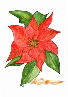 Watercolor Art Print, Giclee - Title: Christmas Time - Red Poinsettia, Golden Gifts, Christmas flowers, Home Decor, Holidays Art.