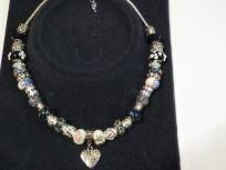 """Black & Silver Beaded necklace w/small """"Made with Love"""" Heart Pendant - $25 +  s/h"""