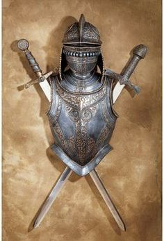 Design Toscano Nunsmere Hall Century Battle Armor Medieval Wall Sculpture with Removable Display Swords, cm, Polyresin and Metal, Pewter Medieval Helmets, Medieval Armor, Medieval Castle, Medieval Gothic, Renaissance, Armadura Medieval, Street Gallery, 3d Wall Art, Wall Décor