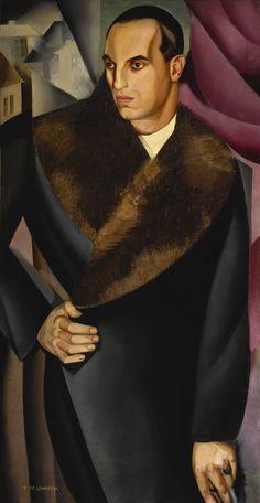 Tamara de Lempicka 1898 - 1980 PORTRAIT DE GUIDO SOMMI Signed T. DE LEMPITZKA (lower left) Oil on canvas 53 1/4 by 28 in. 135.2 by 71.1 cm Painted in 1925.