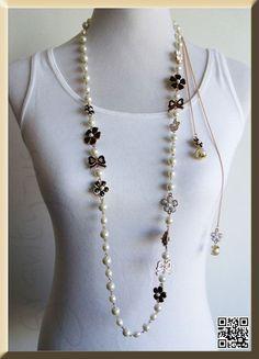 Sautoir Chanel perle de la chaîne, Wrap fleur de marguerite charme, demoiselle d'honneur Mère du mariage de jeune mariée, Chanel Inspiré GU1017