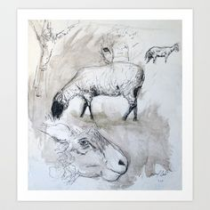 Sheep Sketch #1 Art Print by Yousef Balat @ Hoop Snake Graphics LLC - $17.00