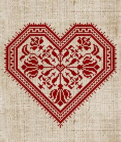 Cross-stitch heart.