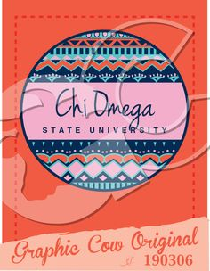 Chi Omega tribal print circle sorority pr #grafcow