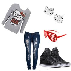 not a big ol fan of hello kitty but this outfit is jus too cute!! id rock it =]