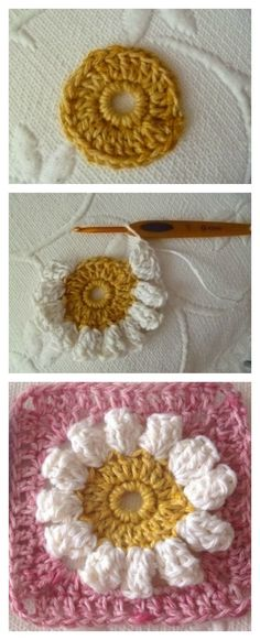Crochet Popcorn Flower Granny Square Free Pattern