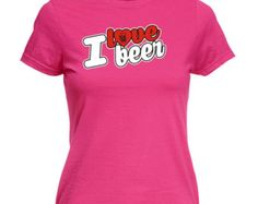 123t Slogan Women's I Love Beer ... Stein Heart Design  - Fitted T-Shirt / T Shirt Funny Top Ladies