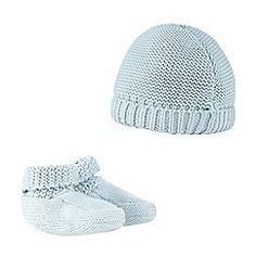 J by Jasper Conran - Baby boys' blue knitted cap and booties set
