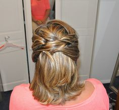 Formal hair, wedding hair, half-up, bridesmaid, short style Hair by Christy: Simply Captivating On-Site Beauty Services, PGH, PA