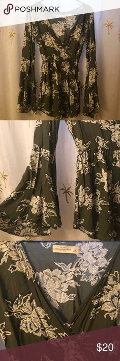 Green and White Floral Bell Sleeve Romper WORN TWICE, ABSOLUTELY PERFECT CONDITION!!! (This is from Abercrombie, not For Love and Lemons, used to advertise) For Love and Lemons Dresses Long Sleeve