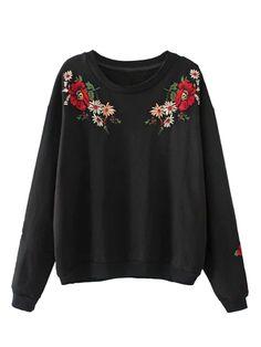 Black Embroidery Flower Long Sleeve Sweatshirt