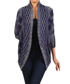 Love this Blue Tribal Geo Knit Open Cardigan - Women on #zulily! #zulilyfinds