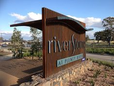 River stone estate sign entry                                                                                                                                                                                 More