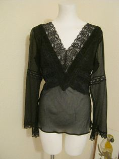 Vintage 80s black crinkled silk lace trim blouse, boho peasant black sheer blouse, size Small sheer black blouse, gypsy peasant top Express
