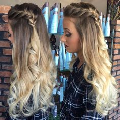 Junior Prom styling and makeup 💁🏼💄Color was done a bit ago by Becky Pretty Hairstyles, Braided Hairstyles, Fall Hairstyles, Elegant Hairstyles, Curly Hair Styles, Natural Hair Styles, Updo Curly, Homecoming Hairstyles, Prom Updo