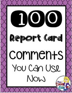 The handouts here are taken directly from my blog and I hope you find them to be helpful. I have included my three principles for report cards, as well as 100 report card comments that will help you complete your report cards with confidence. I've listed a variety of comments for different subject areas, as well as different challenges and achievements.If you like my work, I would love it if you would click on the green star at the top of the page to follow me.Thanks so much!JennThe Teacher…