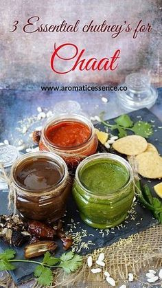 The 3 essential chutneys i. Date-tamarind sweet chutney, cilantro-mint green chutney & red chilli garlic chutneys are the most important elements in any Indian chaat snack. Basically chaat is incomplete without these chutneys, it would be rather bland. Tamarind Chutney, Garlic Chutney, Tamarind Sauce, Cilantro Chutney, Green Chutney Recipe, Indian Sauces, Indian Chutney Recipes, Indian Dishes, Indian Food Recipes