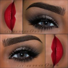 Flawless makeup. Red lip and dark eyes