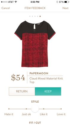 Want on my NEXT Stitch Fix!!!Papermoon Claud mixed material knit top. LOVE this top! Black/red is what I need for March!!!!