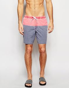 ASOS+Mid+Length+Swim+Shorts+In+Blue/Red+With+Acid+Wash