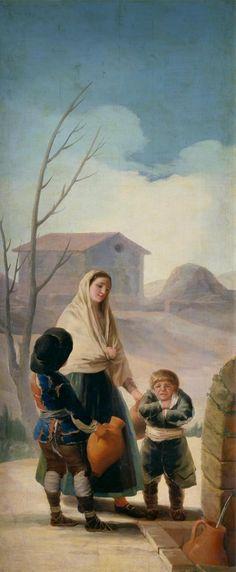 """""""Mujer con dos muchachos en la fuente"""" (o Los pobres en la fuente) 1786-7, cartón de Goya. Museo del Prado"""