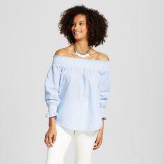 Women's Stripe Embroidered Off the Shoulder Top Light Blue S - Blu Pepper (Juniors')