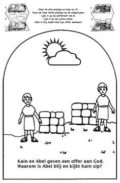 Knutselwerkje Kaïn en Abel. Combinatie van deze knutselwerkjes: http://www.stichtingsamuel.nl/pdf/werkje_kain_en_abel.pdf en https://sites.google.com/site/knutselenindezondagsschool/knutselen/oud-testament/schepping-egeltje/Ka%C3%AFnenAbel.pdf?attredirects=0&d=1  Bible craft Cain and Abel