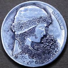 NARIMANTAS PALSIS HOBO NICKEL - 1925 BUFFALO PROFILE Hobo Nickel, Old Coins, Art Forms, Sculpture Art, Carving, Buffalo, Cactus, Profile, Number