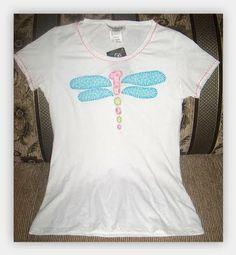 camiseta decorada con aplicaciones en tela aplique libelula