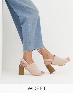 bcb0de92b36a1e DESIGN Wide Fit Wrap minimal slingback block heeled sandals