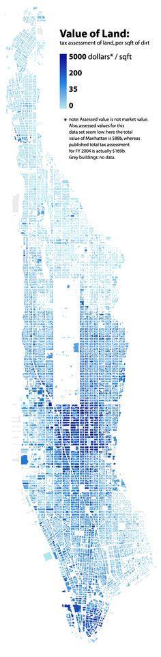 Bill Rankin's classic studies — Cost of land per square foot in Manhattan.