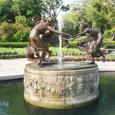 "The Untermyer Fountain in Central Park features a bronze cast of Walter Schott's Three Dancing Maidens.  This fountain was used as a film location to help frame the story in the movie version of ""The Girl on the Train."""