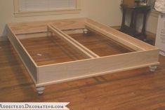 DIY Stained Wood Raised Platform Bed Frame - Part 1 - Addicted 2 Decorating® DIY platform bed frame Diy Platform Bed Plans, Raised Platform Bed, Diy Platform Bed Frame, Wood Platform Bed, Diy Bed Frame, Bed Frames, Diy Queen Bed Frame, Bed Frame Legs, Bed Frame Parts
