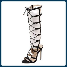 Azbro Women's Peep Toe Lace up Stiletto Gladiator Boots Sandals, Black EURO36/US5/UK3 - Sandalen für frauen (*Partner-Link)