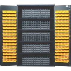 "Quantum 72"" H x 48"" W x 24"" D Storage Cabinet Bin Color: Red"