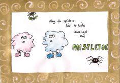mistletoe spiders xmas card design Mistletoe, Homemade Christmas, Xmas Cards, Spiders, Snoopy, Fictional Characters, Design, Art, Christmas E Cards