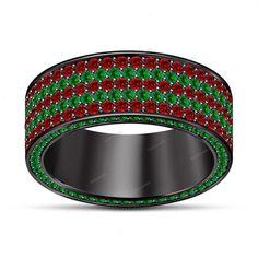 3.00 Carat 14k Black Gold Finish Red Garnet & Green Sapphire Men's Band Ring #beijojewels #MensBandRing #EngagementWeddingAnniversaryValentines
